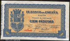 España 100 pesetas Gijon Septiembre 1937 @ Sin Circular @