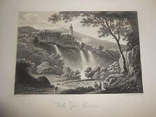 1817 INCISIONE SU ACCIAIO VEDUTA VILLA MAECENAS TIVOLI  LAZIO DA J.SMITH