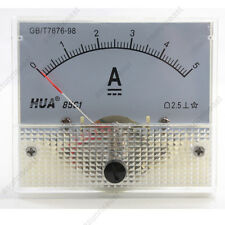 DC 5A Analog Panel AMP Current Meter Ammeter Gauge 85C1 White 0-5A DC