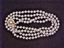 "Vintage Majorca Pearl Necklace GREY SINGLE STRAND Bead  8 mm-X Long 54"" Quality"