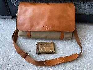 Fossil light brown tan leather & fabric messenger shoulder bag & leather wallet
