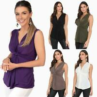 Womens V Neck Sleeveless Blouse Plunge Top Silky Front Knot Ruched Vest Party