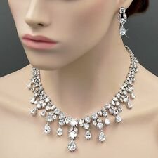 18K White Gold GP Clear Zirconia CZ Necklace Pendant Earrings Jewelry Set 06688
