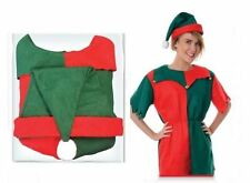 Chrstmas Woman Elf Costume With Hat Fancy Dress Festive Party Adult Ladies Fun