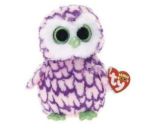 "TY Beanie Boos - Pipper - Owl - Pink - Big Glitter Eyes - Retired - 6"""