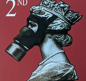 James Cauty Stamp of Mass Contamination 2nd class illegal Terror Aware Queen 123