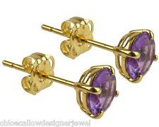 1x Pair of 9ct Yellow Gold 5mm Purple Amethyst Set Ear Studs Earrings + gift bag