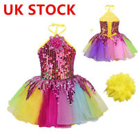 UK_Kids Girls Sequins Ballet Tutu Dress Leotard Stage Performance Dance Costume