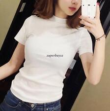 Korean Chic Women High Neck Short Sleeve Slim Casual T-Shirt Blouse Shirt Top