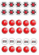 COMIC RELIEF RED NOSE DAY 2 EDIBLE RICE WAFER PAPER CUP CAKE TOPPER X30