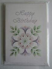 HANDMADE STITCHED HAPPY BIRTHDAY CARD FLOWERS  IN LILAC AND PINK ON WHITE CARD