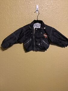 Harley Davidson Faux Black Leather Motorcycle Biker Jacket Kids Size 3T