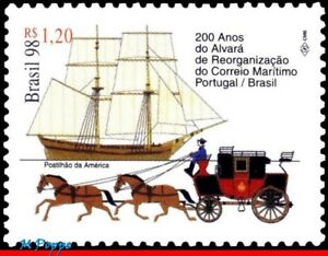 2691 BRAZIL 1998 MAIL MARITIME, 200 YEARS, HORSES, SHIPS MI# 2904 RHM C-2167 MNH