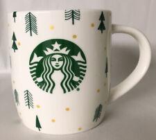 Starbucks Coffee Tea Mug Cup 10oz. Christmas Holiday Green Trees Gold Dots.