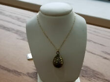 Italy 14k Yellow Gold Unique Egg Like Pendant Necklace