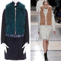runway SACAI AW13 navy blue wool faux fur body belted coat jacket JP2 M