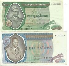 Zaire Lot 5-10 Zaires 1977 P 21+ P 23. Vf Condition. 4Rw 27Set
