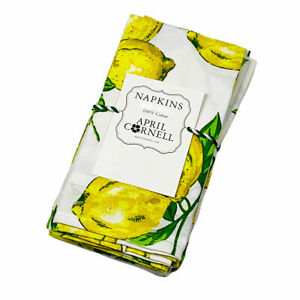 April Cornell Lemons Lemon Tree 100% Cotton Dinner Lunch Napkins Set of 4