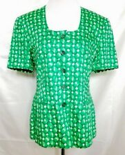 ESCADA Margaretha Ley Cotton Blazer 42 Short Sleeve Green White Weave
