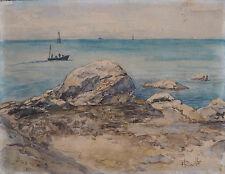 Tableau Superbe aquarelle Bord de mer avec pêcheurs vers 1920 signée