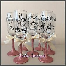 Personalised Glitter Champagne Glass Bridesmaid Wedding Wine Prosecco Drink