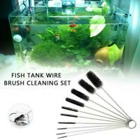 10PCS/SET Household Fish Tank Aquarium Bottle Tube Cleaning in 3 1 Nylon W3Y8