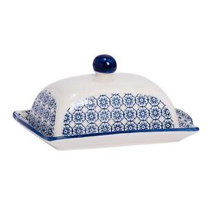 Patterned Kitchen Butter Dish With Lid Porcelain Crockery - Blue Flower