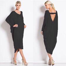 Women Backless baggy longsleeve Party Cocktail Clubwear Midi Dress Plus Size