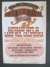 1973 Outdoor Country Music Festival Kris Kristofferson, Waylon Jennings + Poster
