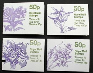 GB – 50p Booklets – Orchids – Complete Set of FOUR – (incl. Cyl)  UM (MNH) (J2)