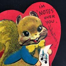 Valentines Card Vtg 1940s 50s Squirrel Girl Flocked Ephemera Greeting Singing