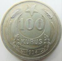 1934 TURKEY Kemal Ataturk, silver 100 Kurus, grading  EXTRA FINE.
