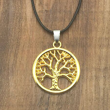 Unisex's Stainless Steel Golden Tree of Life Pendant Leather Chain Necklace #5