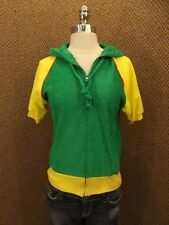 NEW Vtg 80s Green Yellow Terry Cloth Sporty Hooded Zip Down Raglan Summer Top L