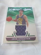 2015-16 Absolute BKB ICONIC #02 John Stockton Utah Jazz JERSEY RELIC #/99 !!