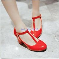 Fashion Patent Leather Womens T-Bars Chunky Heel Pumps Court Party Shoes Casual
