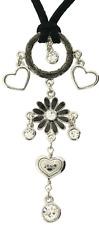 £40 Retro Silver Black Flower Heart Pendant Necklace Swarovski Elements Crystal
