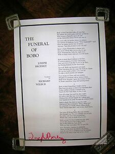 "The Funeral of Bobo by Joseph Brodsky Signed Poster 1974 28 3/8's Inches By 20""!"