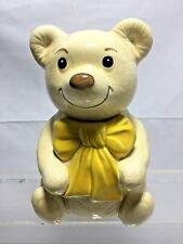 RARE METLOX BEAU BEAR Vintage COOKIE JAR 9 1/2 inches tall with YELLOW BOW cl
