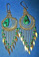 Vintage Wire Work Wrapped Turquoise Stone and Bead Chandalier Pierced Earrings