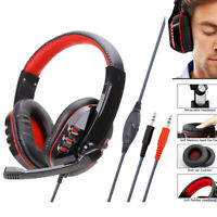 Wired 3.5mm Headphones Super Bass Stereo Headsets Over Ear Gaming Earphones Mic