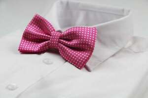 Mens Pink Plain Coloured Bow Tie With White Polka Dots