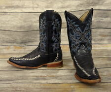 Kids Cowboy Boots Aventureros Black Leather Size 8.5 Blue White Silver Elongated
