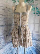 M60 Miss Sixty Floral & Stripes Ruffle Tiered Criss Cross Back Sleeveless Dress