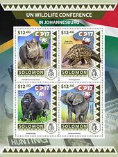 Solomon Isl 2016 MNH COP17 CITES UN Wildlife Conf 4v M/S Elephants Rhinos Stamps