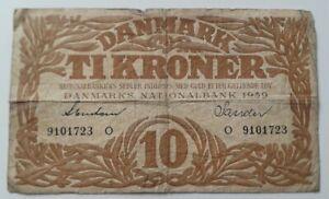 Denmark 10 Kroner Banknote 1939