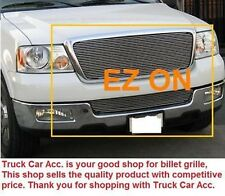 For FORD F150 2004 2005 2PC Polish Grille REPLACEMENT Combo Top w/o Logo+Bumper