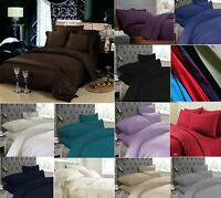 Plain Duvet Cover Set Pillowcase Flat Sheets Fitted Sheets Single Double King SK