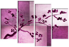 "LARGE PLUM PURPLE PINK FLORAL CANVAS PICTURE WALL ART MULTI SPLIT 4 PANEL 40"""