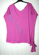 PURPLE PINK LADIES STRETCH CASUAL TOP TUNIC BLOUSE SIZE 22 AMARANTO